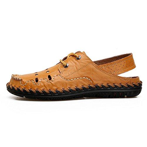 Sandali maschili in pelle fatti a mano artigianali sandali maschili in vero cuoio classico casual da spiaggia traspirante light brown 43
