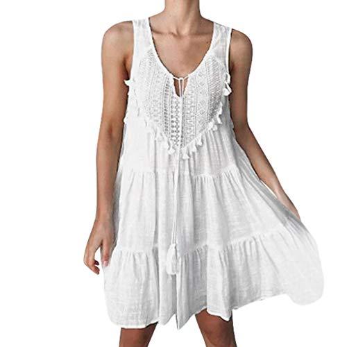 Sommer Mode Böhmen Plissee ärmellose ausgestellte beiläufige Minikleid ()