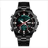 Fenkoo Herren Sportuhr Quartz / Mechanischer Handaufzug / Japanischer Quartz LED / Wasserdicht / Armbanduhren für den Alltag Edelstahl Band