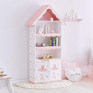 Fantasy Fields- Swan Lake Ballerina Bookshelf Crafted Hand-Painted Kids Wooden Furniture | White and Pink estantería para niños, Color Blanca/Rosado, 83.19x31.12x164.47cm (TEAMSON UK LTD TD-12717A)