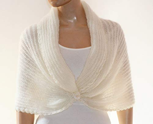 a0e84a52d Ivory Shrug for Women, Bridesmaid Cover Up, Knitted Shawl, Summer Wedding  Wrap, Evening Mohair Jacket, Wedding Bolero Jacket,Ivory Knitted Cape