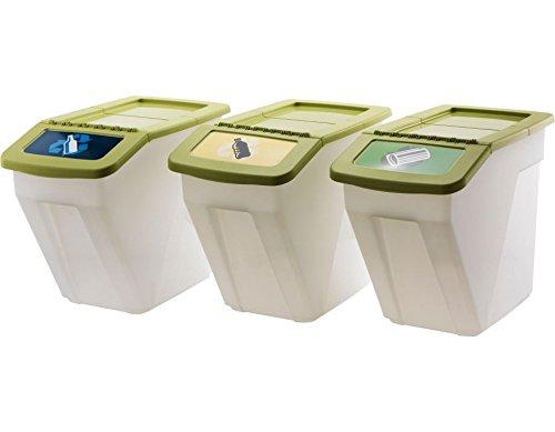 Premium 34Liter Kunststoff-Recycling Mülleimer–Set von 3 (Küche Kompost-glas)