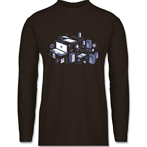 Nerds & Geeks - Netzwerk Design - Longsleeve / langärmeliges T-Shirt für Herren Braun