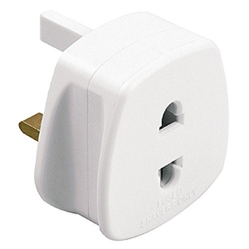 White UK 2 Pin To 3 Pin 1A Fuse Adaptor Plug For Shaver/Toothbrush by Sojon Ltd