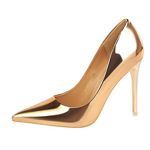 High Heels Damen sexy spitze, nackte Riemen schlüpfen in metallische Kleid Schuhe Stiletto Heels, Champagner, 39