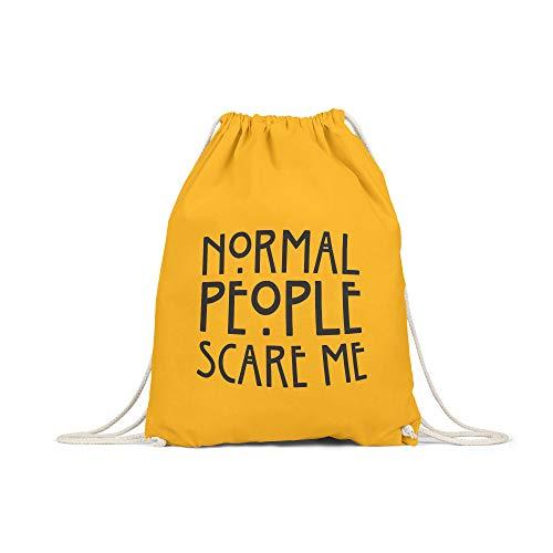 licaso Bolsa de Deporte Estampada en Colores Gym Bag con Robusto Cordel Bolsa impresión ecológica & sostenible Bolsa de Transporte 100% algodón, Color Normal People Scare Me, tamaño Senf