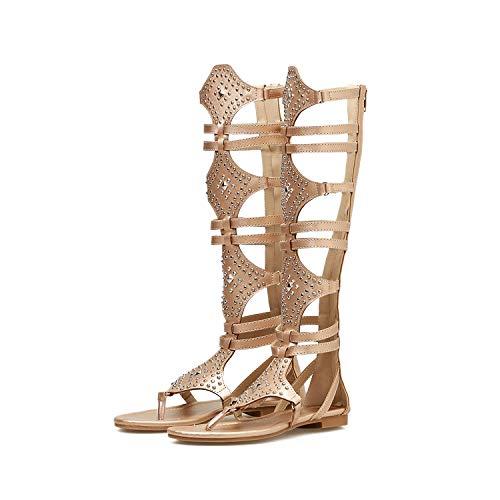 Lixibei Gladiator Sandalen für Frauen Rivet Pin Toe Casual Sandalen Sandalen Damen Sommer Mode Flache Schuhe schwarz braun,Brown,39 -