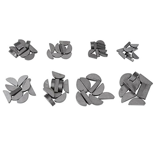 80pcs métal clés Woodruff clés kit de boîte d'assortiment demi-cercle mis en différentes tailles attaches industrie mécanique