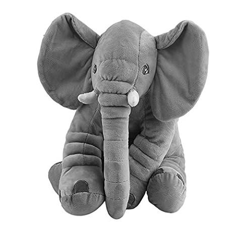 Maistore 28*33CM Elephant Pillow Creative Gift Stuffed Soft Animal Toys Plush Pillow for Baby Kids Sleeping Baby Comfort Doll Toys Cushion (Grey)