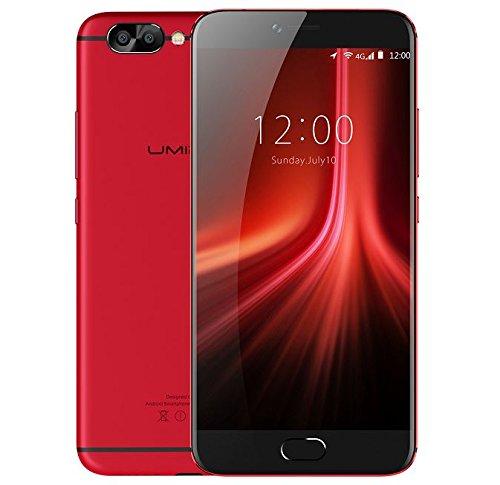 UMIDIGI Z1 PRO - Ultradünnes (6,95 mm) Android 7.0 Smartphone, 5.5 Zoll FHD AMOLED Bildschirm, 2.3GHz Octa-Core 6GB + 64GB, Tri Kamera (5MP + 5MP + 13MP), 4000mAH Batterie - Rot