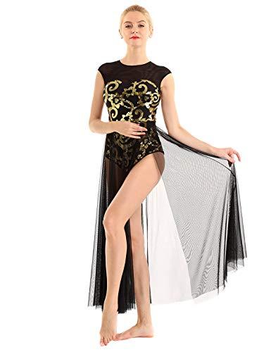 iEFiEL Damen Ballettkleid ärmellos Ballettanzug Lyrisch Kleid lang mit Blumen Pailletten Latein Tanzkleid Modern Tanz Performance Kostüm Schwarz Medium (Schwarz Lyrischen Tanz Kostüm)