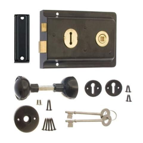 High Quality Black Rim Sash Lock 150 x 102mm with Handles Door Sashlock Knobset with 2 Keys