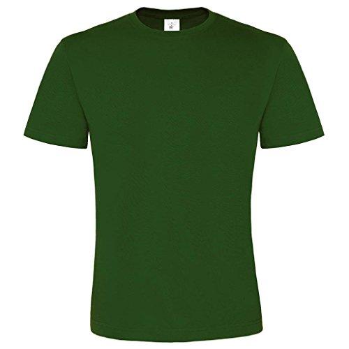B & C Collection Herren großzügiger Schnitt Exact 2-lagig Rundhalsausschnitt Kurzarm T-Shirt Grün - Flaschengrün