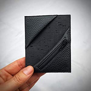 Kreditkartenetui Cardholder Herrengeldbeutel Visitenkarten Etui tablet Kork schwarz Münzfach RFID-secure, handgefertigt…
