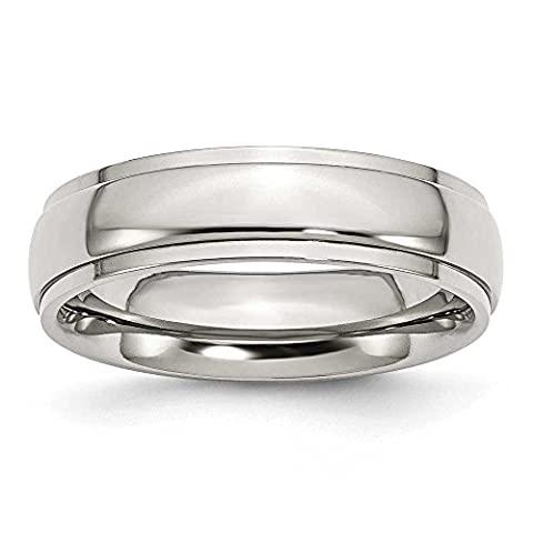 Stainless Steel Ridged Edge 6mm Polished Band Ring Size S 1/2