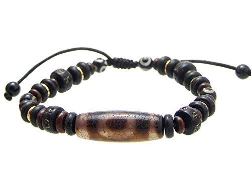 BP003 Agathe Creation Tibetisches Glücksbringer-Armband besteht aus Stein dzi (Achat Terra), Holz, Knochen, braun, verstellbar mit Schleife, Schiebevorhang, handgefertigt