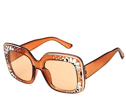 DAIYSNAFDN Glänzende Diamant Sonnenbrille Frauen Design Flash Square Shades Weibliche Spiegel Sonnenbrille C3