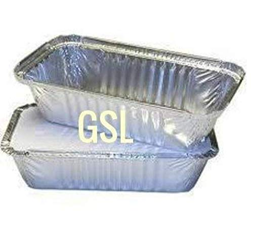 GSL 50 x Large Aluminium Foil Food Storage Containers Catering Grade + Lids No6a