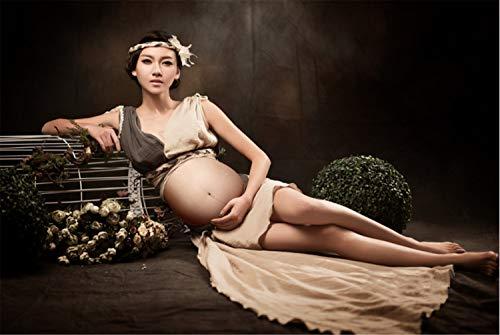 UNIQUE-F Mutterschaft Rock, Studio Fotografie Schwangerschaft Kleidung ausgesetzt Bauch Foto Requisiten Lange Kleider Leinen Set - Mutterschaft Rock Leinen