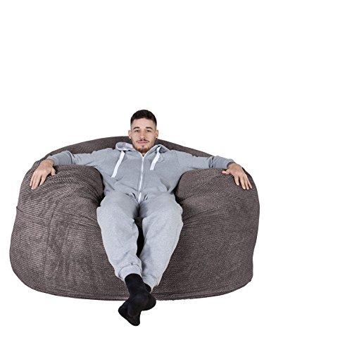 Lounge Pug® - Pom Pom - CLOUDSAC - Huge Memory Foam GIANT Bean Bag SOFA - 1000 Litre - Beanbag UK - CHARCOAL GREY