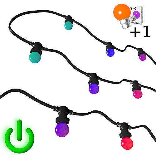 Guirlande Guinguette RGB couleur changement automatique 10m 20 ampoules B22 chainable etanche (Multicolore)