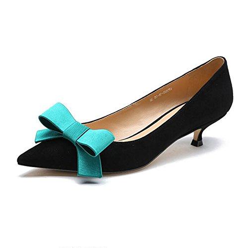 YIXINY Escarpin Sweet Chaussures Pour Femmes Bowknot Talon Chaton Pointu Avec Bouche Peu Profonde Loisirs Talon 4cm