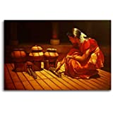 Tamatina Canvas Paintings - Indian Lady Cooking Food - S Elayaraja - Tribal Art - Paintings For Home Décor - Paintings For Drawing Room - Wall Paintings For Bedroom - Paintings For Living Room - Canvas Paintings For Wall - Large Size Paintings For