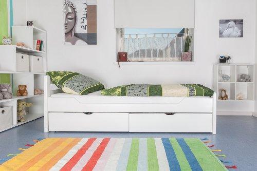 """Tagesbett / Gästebett """"Easy Möbel"""" K1/2n inkl. 2 Schubladen und 2 Abdeckblenden, 90 x 200 cm Buche Vollholz massiv weiß lackiert"""