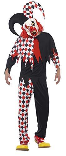 Smiffys 44734L - Herren Verrückter Hofnarr Kostüm, Größe: L, schwarz/rot (Hofnarr Kostüm)
