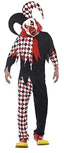 Smiffys Disfraz de bufón Loco, Negro y Rojo, con Parte de Arriba, Pantalones, máscara de