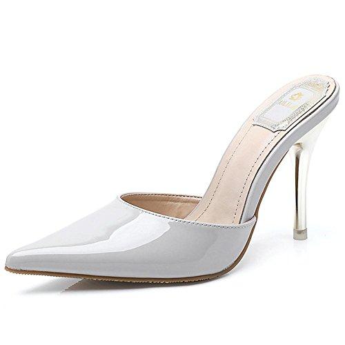 L@YC® Donne Estate Sandali Brevetto Pelle Pantofole Punta Signore Bene Con Il Rosso Tacco alto Danza Scarpe abito Gray