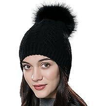 deb3564a4a02 URSFUR Bonnet Tricot Torsade Femme Chapeau Bonnet Pompon De Fourrure Raton  Hiver
