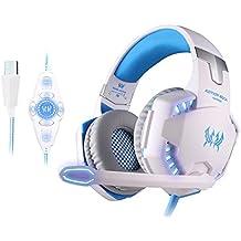 KOTION EACH G2200 USB Estéreo de la Vibración Auricular para Juegos con Sonido envolvente 7.1 Virtual Linterna LED 50MM Altavoz de Alta Fidelidad Micrófono Omnidireccional en Línea Controlador para PC(ordenador personal) y Laptop (ordenador portátil) Blanco + azul