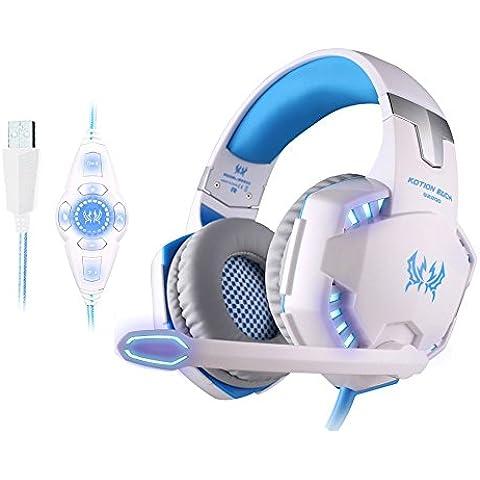 KOTION EACH G2200 USB Estéreo de la Vibración Auricular para Juegos con Sonido envolvente 7.1 Virtual Linterna LED 50MM Altavoz de Alta Fidelidad Micrófono Omnidireccional en Línea Controlador para PC(ordenador personal) y Laptop (ordenador portátil) Blanco +