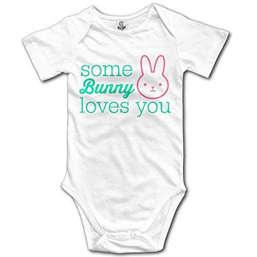 TKMSH Unisex Baby's Climbing Clothes Set Some Bunny Loves You Bodysuits Romper Short Sleeved Light Onesies for 0-24 Months Bunny Infant Bodysuit