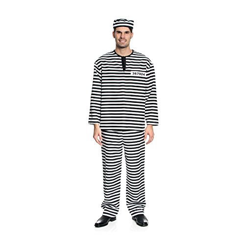 Kostümplanet® Sträfling-Kostüm Herren Sträflings-Kostüm Knasti Gefangener Uniform Größe 48/50