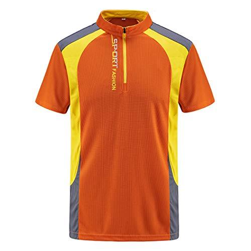Celucke Herren Laufshirt Funktionsshirt Übergröße Trainingsshirt Performance T-Shirt Kompressionsshirt, Sport Atmungsaktiv Kurzarm Rundhals mit Reißverschluss Compression Schnelltrocknend
