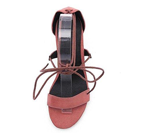 Beauqueen Suede Anke Straps Krawatten Pumps Open-Toe Chunky Mid Heel Sommer Hochzeitsfest Vintage Sandalen Customized Europa Größe 34-43 red bean paste