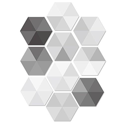Pawaca 10 stück Fliesenaufkleber Sechseck Sticker Selbstklebend Fliesen Wasserdicht Wandaufkleber Mosaik Fliesen Dekoratives Badezimmer und Küche Fliesen-Aufkleber Folie– 23 x 20cm