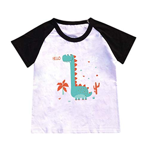 JUTOO Kinderbaby-Karikatur-heiße Art-Dinosaurier-Muster-Buchstabe-Druck-T-Shirt, das Hemd übersteigt (Schwarz ()