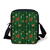 Football,Old Fashioned Composition with Green Stripes Rugby Icons Graphic,Green Hunter Green Cinnamon Print Kids Crossbody Messenger Bag Purse