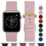 Fullmosa Ersatzband für Apple Watch Armband 42mm und 38mm, Echtes Leder Uhrenarmband für Iwatch Watch Series 3,2,1, Nike+ Hermes&Edition,Hellrosa+polierte goldene Schnalle 42mm