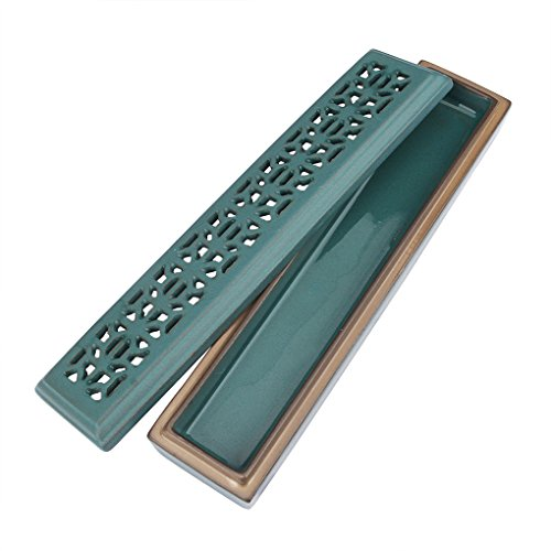 (Print C) - Vintage Rectangular Ceramic Incense Burner With Exquisite Lid Porcelain Incense Stick Holder Stand Ash Catcher Tray Box With Fireproof Layer Home Buddhist Temple Accessory, Print C -