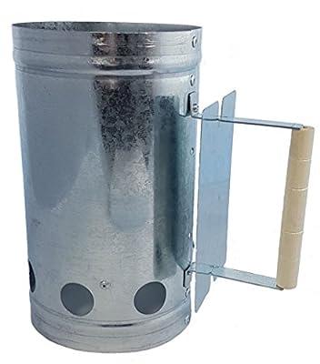 Spetebo Metall Kohleanzünder mit Holzgriff - Grillkohleanzünder mit Hitzeschild - Schnellanzünder