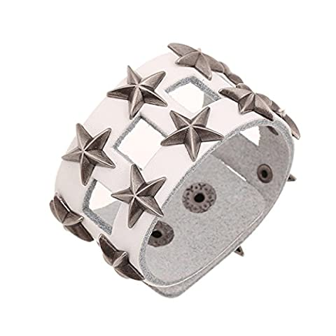 Europe And The United States Punk Bracelet Wide Five-pointed Star Cuffs Accessories Leather,White-M