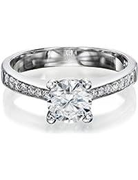 Zertifikat Klassischer 18 Karat (750) Weißgold Damen - Diamant Ring Round 0.70 Karat F-VS2 (Ringgröße 48-63)