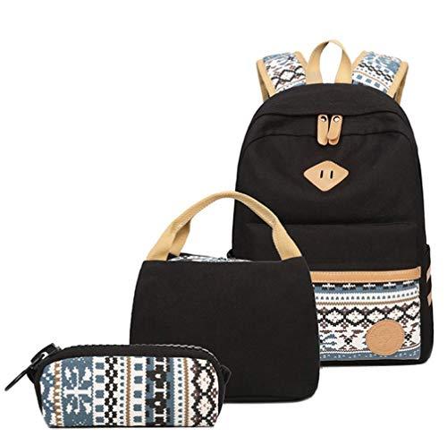 KaixinRoom Leinwand Rucksäcke Set für Mädchen, Rucksack Damen Rucksack mädchen Weinlese-stilvolle Damen-Beutel Rucksack mit Tragbarer Lunchpaket Geldbörse