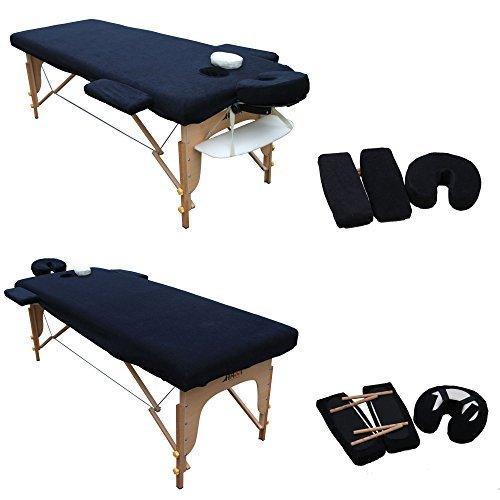 H-ROOT Massage Tisch Couch Bezug. Mit Bezüge für Kopfstütze und Armlehne (schwarz) (186cm x 60cm)
