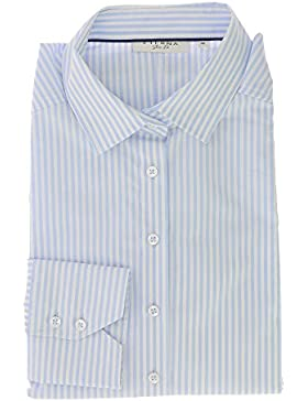 ETERNA Damen Bluse 1/1 Langarm Businessbluse aus 98% Baumwolle 2% Elasthan Gr. 42 Hellblau Gestreift