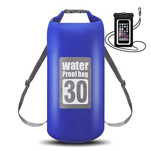 WIN.MAX Wasserdichte Wasserdichter Packsack mit Handybeutel, Blau, 15L